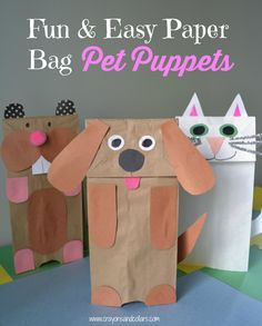 Paper Bag Pet Puppets - easy, DIY craft for kids using stuff you have around the house! You're only limited by your ideas! diy paper Easy Paper Bag Puppets You Can Make With Household Items Puppet Crafts, Dog Crafts, Fun Crafts For Kids, Art For Kids, Easy Preschool Crafts, Kid Art, Crafts For Preschoolers, Preschooler Crafts, Crafts Toddlers