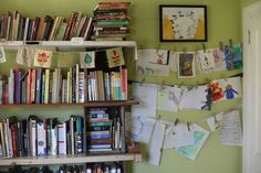 Kids playroom. Also doubles for homeschooling. Love the leaf print bunting.
