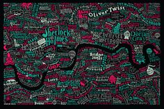 "Literary London - the map features characters from the pages of novels, and ""is swarming with famous fictional characters from London lore."""