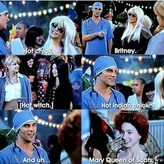 Pretty Little Liars 2x13 Halloween Aria is a witch, Hanna is Britney Spears, Alison is Lady GaGa, Emily is Pocahontas, Spencer is Mary Queen of Scotts