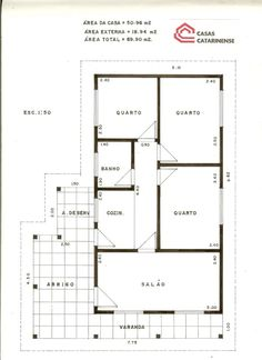 2 quartos, 1 banheiro, 1 cozinha, 1 sala, garagem e área de serviço.