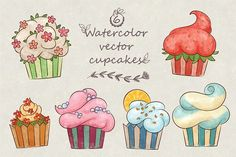 Vector watercolor cute cupcakes. Watercolor Flowers