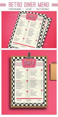 Retro Diner Menu by Guuver FeaturesAI CS Psd FIles size cm bleed Ready to print CMYK 300 DPI CMYK Print Ready well organized layer vector incl Diner Menu, Diner Party, Diner Restaurant, Restaurant Menu Design, Diner Food, Restaurant Identity, 1950 Diner, Vintage Diner, Retro Diner
