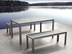 NARDO Garden Dining Table and 2 Benches Brushed Aluminium