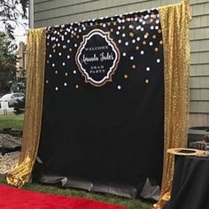 black and gold backdrop adults party banner poster signage personalised printable only birthday backdrop Graduation Party Planning, Graduation Decorations, Graduation Ideas, Graduation Centerpiece, Class Reunion Decorations, Class Reunion Ideas, 50th Birthday Centerpieces, Graduation Desserts, Graduation Quotes