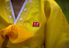 Close-up Of The Dear Leaders Badge On The Traditional Dress Of A North Korean Woman, Hamhung, North Korea