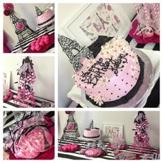 Paris theme birthday party... Stripes, black, white, pink and tons of treats!  Cake, cake pops, cookies, pretzel sticks, GUM BALL necklaces and chocolate Eiffel towers!  Paper pinwheels and Eiffel towers...