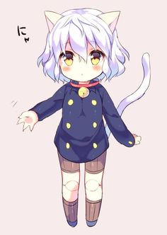 androgynous animal_ears bell bell_collar blush cat_ears cat_tail chibi claws collar doll_joints hunter_x_hunter nefelpitou poooka short_hair silver_hair solo tail wavy_hair yellow_eyes