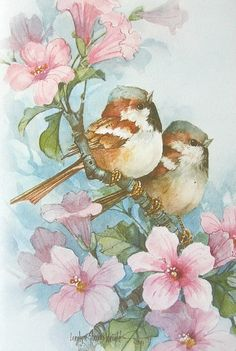 Carolyn Shores Wright Sparrow Birds Pink Flower Blossom - 978 x 1455