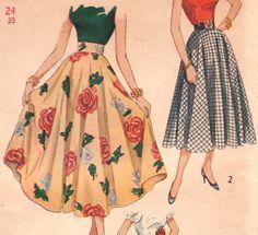 1950s vintage circle skirt pattern