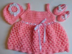 coral crochet baby dress with hat and shoes