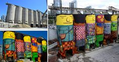 First a Boeing 747, and now an industrial complex on a Vancover island; it seems no canvas is too large for Brazilian graffiti artists Os Gemeos who were invited to the Vancouver Biennale to turn six mult