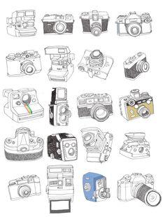 by Samuel Vizor Kamera Tattoos, Camera Illustration, Camera Drawing, Doodles, Ligne Claire, Vintage Cameras, Doodle Art, Art Lessons, Line Art