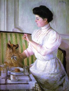 Lilla Cabot Perry (American artist, Lady At The Tea Table American Impressionism, Amor Animal, Mary Cassatt, Impressionist Artists, Tea Art, Collaborative Art, American Artists, Painting & Drawing, Nostalgia