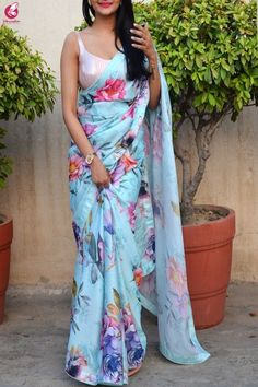 Buy Multicolored Digital Print Satin Georgette Saree - Sarees Online in India Trendy Sarees, Stylish Sarees, Fancy Sarees, Indian Designer Outfits, Indian Outfits, Indian Dresses, Saree Wearing Styles, Saree Styles, Floral Print Sarees