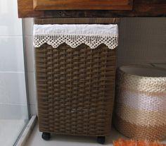 Agulhas e Pinceis: Forro de tecido para cesto de roupa