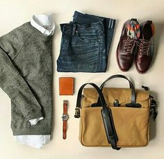 Outfit grid - Ready for the day ahead // Mens Style and Fashion, Dressy Casual, Layers, Grey Sweater with White Button Down Collared Shirt, Denim Blue Jean, and Brown Dress Shoes