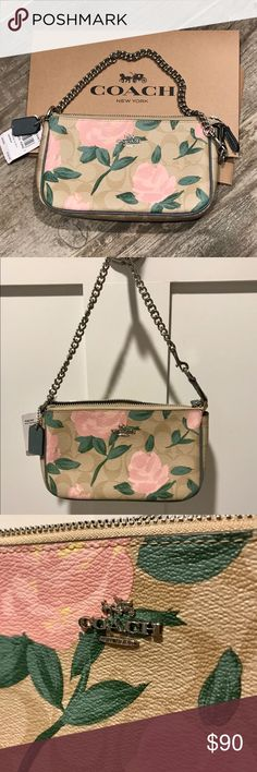 "NWT! Coach floral khaki large wristlet purse NWT! 💯 Authentic! Coach large wristlet floral khaki Color: Khaki/Blush. Measures: 7 1/2""(L) x 4 1/2""(H) x 2""(D) approximately. Floral Coated Canvas Print with Leather trim. Interior: 1 open compartment, 3 card holder, Green fabric interior lining. Silver Hardware can be wristlet or purse. Brand new & flawless. Gift box included! Plenty of room for iPhone plus. Perfect for spring/summer months ahead!!  Smoke free home💜No trades💜Make an offer…"
