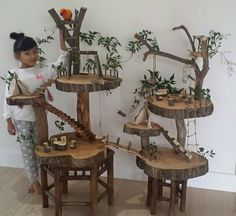 Tree house for fairy garden Diy Bird Toys, Diy Toys, Homemade Bird Toys, Wood Crafts, Diy And Crafts, Pet Bird Cage, Fairy Tree Houses, Parrot Toys, Wood Toys