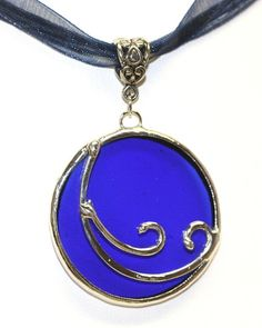 Round Stained Glass Wave Pendant SGWP3 by colorshoppestudio, $18.95