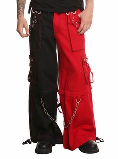 Tripp Red & Black Pants with Zip Off Legs to Shorts
