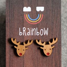 Wooden Rudolph Earring by bRainbowshop on Etsy