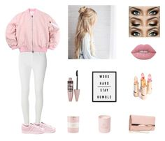 """Pretty in Pink"" by sophieyoungxo ❤ liked on Polyvore featuring Lime Crime, New Look, Dorothy Perkins, adidas, Maybelline and Kate Spade"
