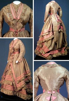 Dress of gold and gray striped silk taffeta, 1870. Cornell Univ.