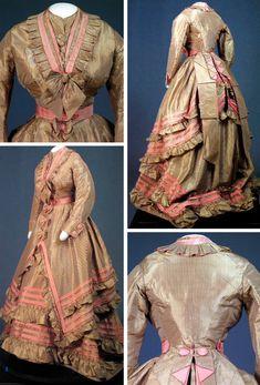~Dress of gold and gray striped silk taffeta, 1870~      Cornell Univ.