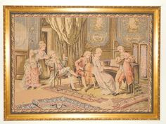 """Large Antique Wood Framed Wall Tapestries 60x44"""" Beautiful Elegant Wall Decor"""