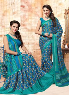 Saree collection for any women buy online. Order this faux crepe print work casual saree for casual and party.
