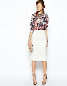560c725e8c9 White pencil skirt styled with a colourful blouse. Love this entire outfit.