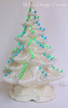 Ceramic Lighted Christmas Tree  Iridescent  White