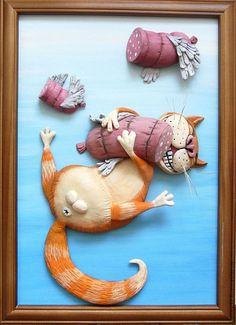 """Купить Картина """"Счастье есть!"""" - юмор, юмористическая картина, кот, кот и колбаса, соленое тесто Cat Crafts, Diy And Crafts, Paper Crafts, Polymer Clay Cat, Clay Cats, Funny Posters, Cute Cartoon Wallpapers, Salt Dough, Sculpture Clay"""