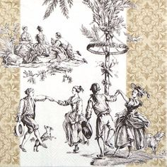 4 Single Party Paper Napkins for Decoupage Decopatch Craft Vintage Menuet Cream