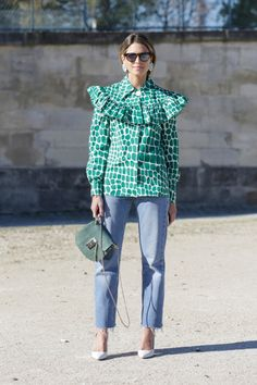 Helena Bordon out and about Paris during Fashion Week SS16 (Photo credit: Team Peter Sirtger) Miu Miu ruffled blouse