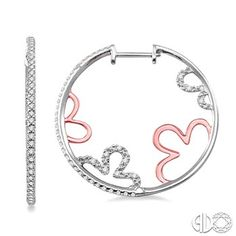 1/2 Ctw Round Cut Diamond Hoop Earrings in 14K White and Rose/Pink Gold