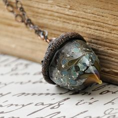 Lampwork Glass Amber Blue Acorn Pendant by villadesign on Etsy