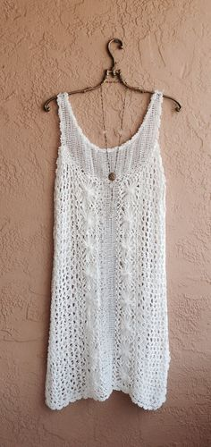 White cotton crochet summer dress for beach boho  wedding size large