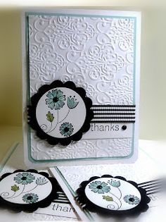 handmade thank you card from Me, My Stamps and I: Simply Simple 116 ... baroque embossing folder texture ... matted circle medallion ... lovely card ...