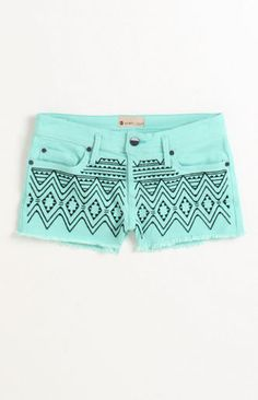 Carnivals Embroidered Shorts - stencil a design on a pair of shorts