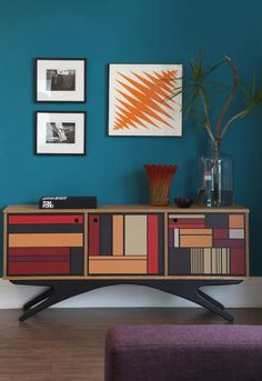 48 Amazing And Innovative Sideboard Designs : 48 Original And Creative Sideboard Designs With White Blue Wall Wooden Colorful Low Sideboard . Design Furniture, Luxury Furniture, Cool Furniture, Painted Furniture, Sideboard Design, Modern Sideboard, Retro Sideboard, Painted Sideboard, Decoration Bedroom