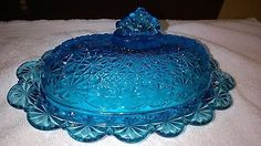 Extremely-Rare-Depression-Era-Blue-Glass-Butter-Dish