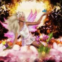 Красивая девушка фея. - Анимированная gif картинка блестяшка сказочной цветочной феи.