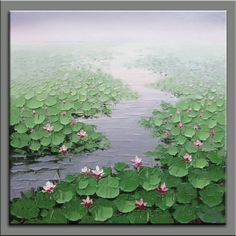 original painting,hand oil painting,impasto oil on canvas,contemporary fine art,framed,huge 80x80cm  palette knife painting water lily