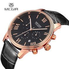 (29.22$)  Buy here  - MEGIR Brand Men Genuine Leather Watch Analog Display Military Watches Date Chronograph Sport Watch