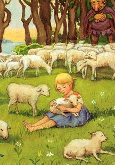 Elsa Beskow - little girl with lambs