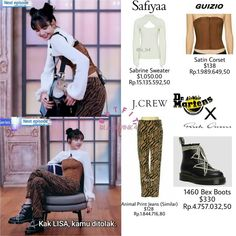 Kpop Fashion Outfits, Stage Outfits, Dance Outfits, Corset, Looks Teen, Animal Print Jeans, Rp 1, Black Pink Dance Practice, Martens