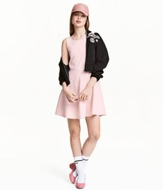 Check this out! Sleeveless jersey dress. Low-cut at back with attached wrapover and a cut-out section. Seam at waist. - Visit hm.com to see more.