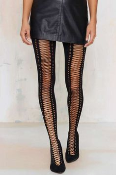 Factory Piece of Opaque Lace-Up Tights